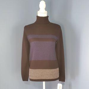 KAREN SCOTT Black Patterned Turtleneck Sweater PS